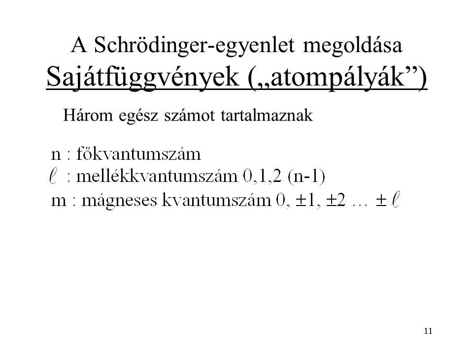 """A Schrödinger-egyenlet megoldása Sajátfüggvények (""""atompályák )"""