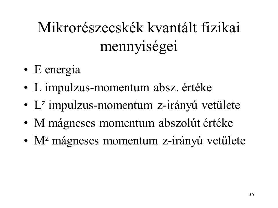 Mikrorészecskék kvantált fizikai mennyiségei
