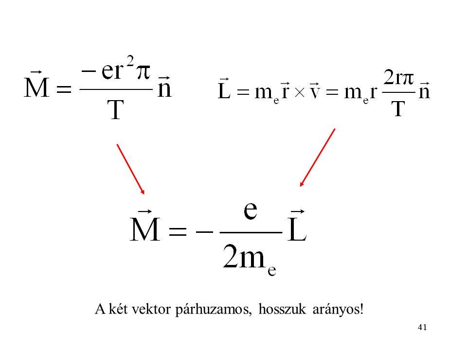 A két vektor párhuzamos, hosszuk arányos!