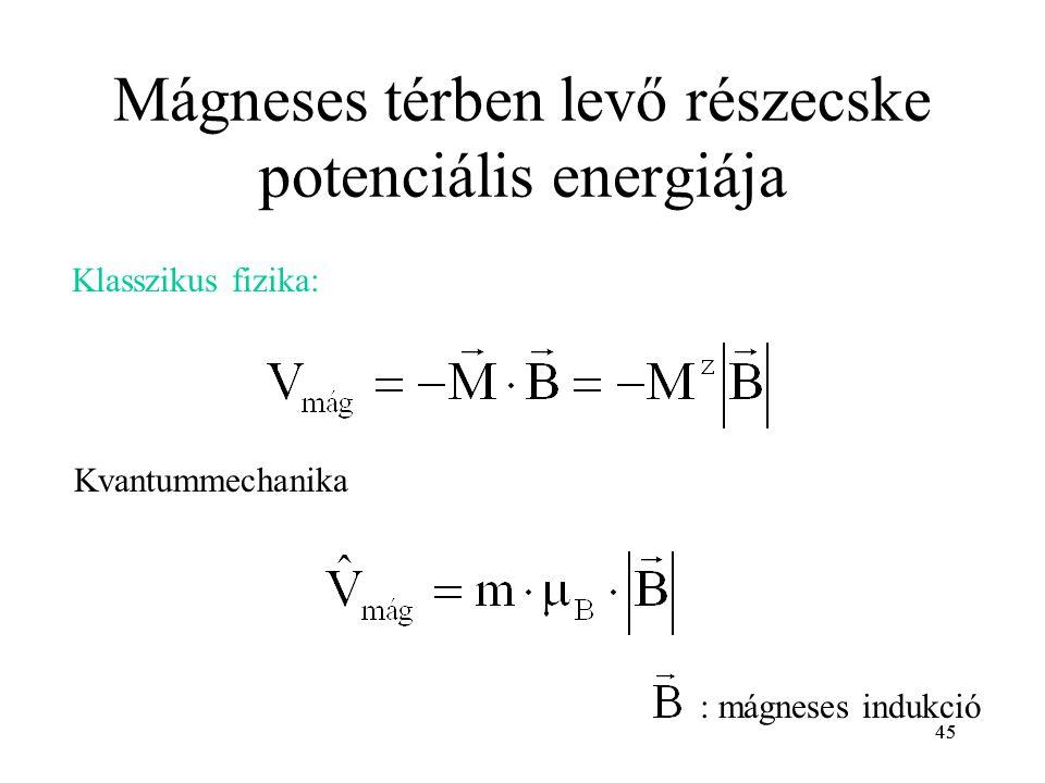 Mágneses térben levő részecske potenciális energiája