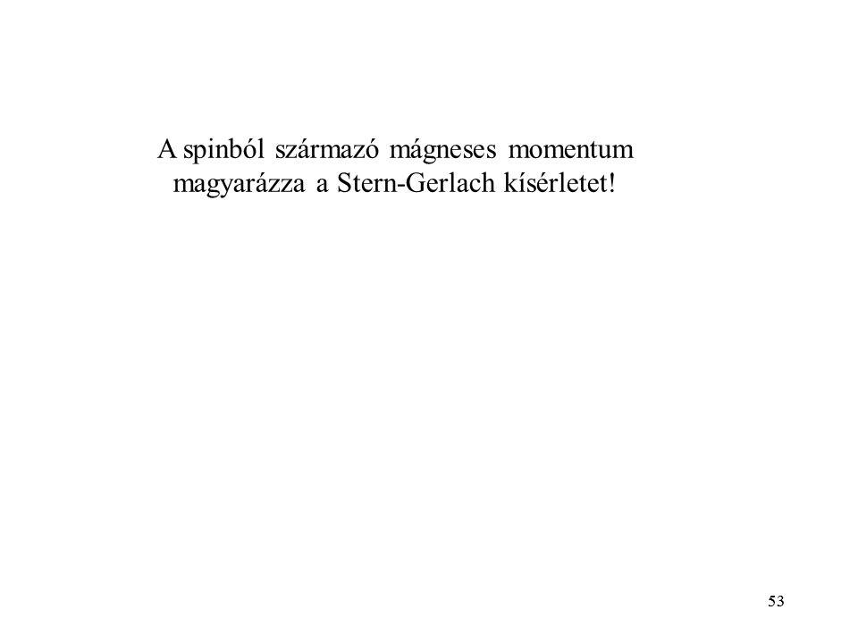 A spinból származó mágneses momentum magyarázza a Stern-Gerlach kísérletet!