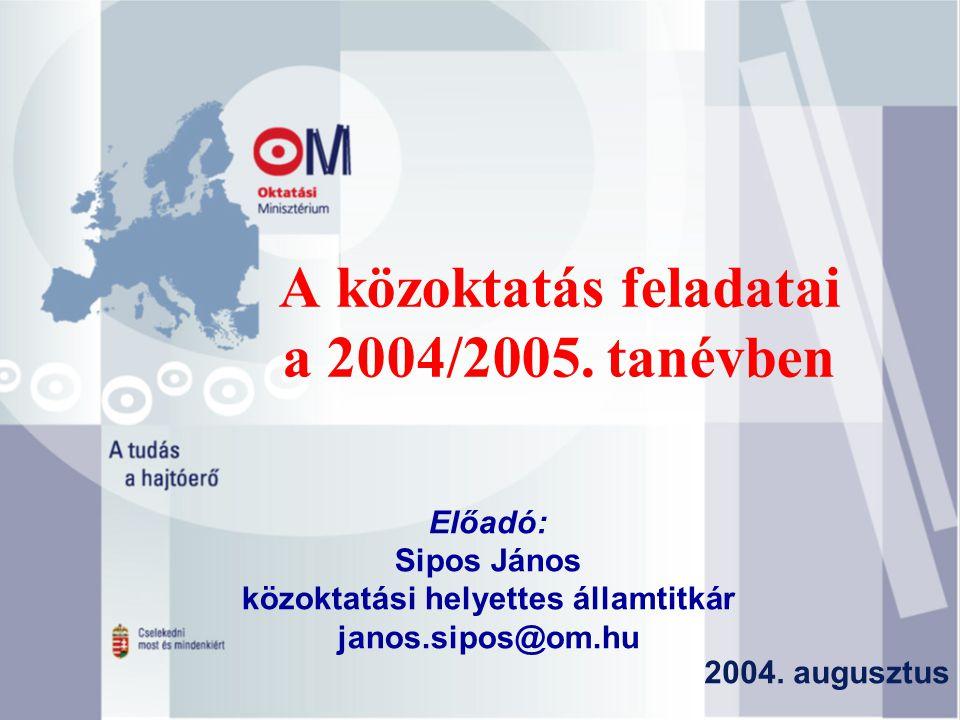 A közoktatás feladatai a 2004/2005. tanévben