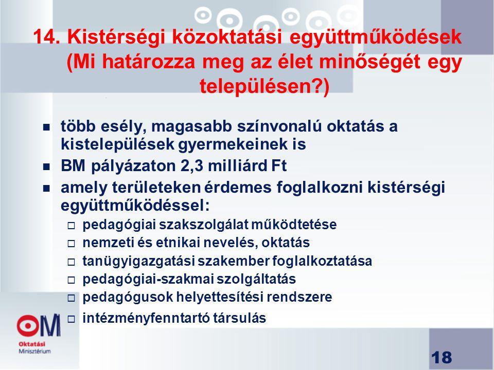 14. Kistérségi közoktatási együttműködések (Mi határozza meg az élet minőségét egy településen )