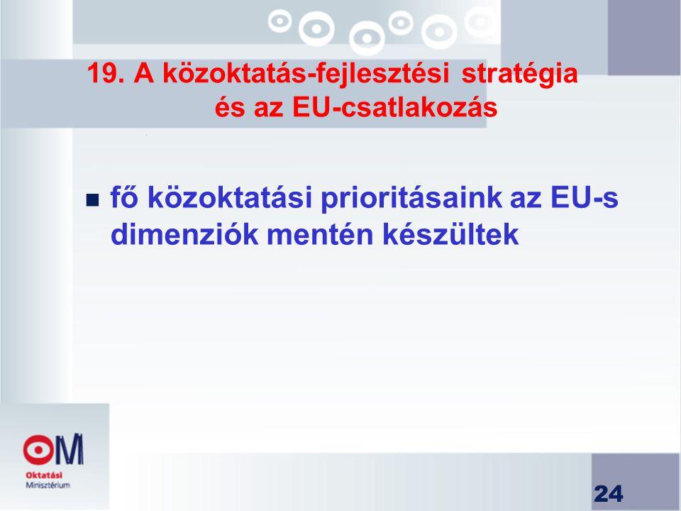 19. A közoktatás-fejlesztési stratégia és az EU-csatlakozás