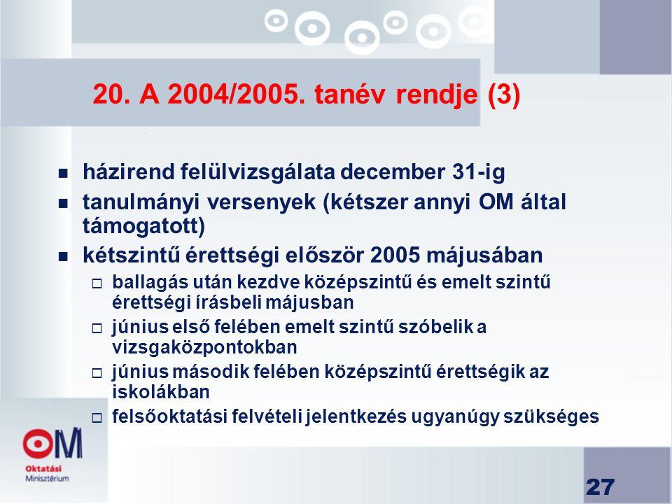 20. A 2004/2005. tanév rendje (3) házirend felülvizsgálata december 31-ig. tanulmányi versenyek (kétszer annyi OM által támogatott)