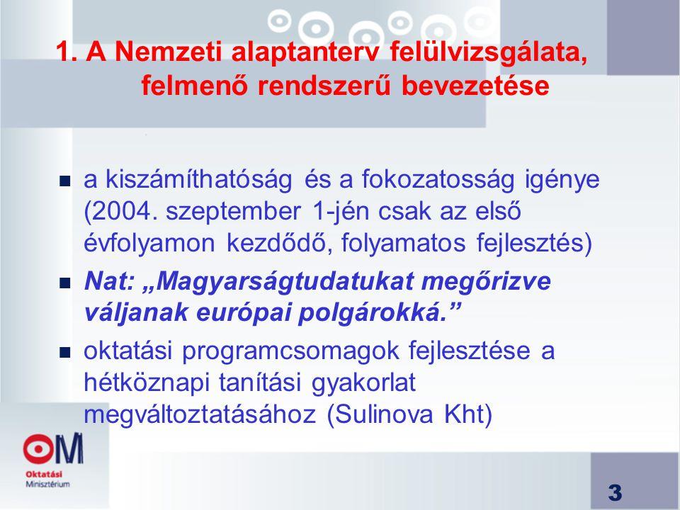 1. A Nemzeti alaptanterv felülvizsgálata, felmenő rendszerű bevezetése