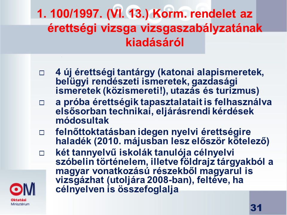 1. 100/1997. (VI. 13.) Korm. rendelet az érettségi vizsga vizsgaszabályzatának kiadásáról
