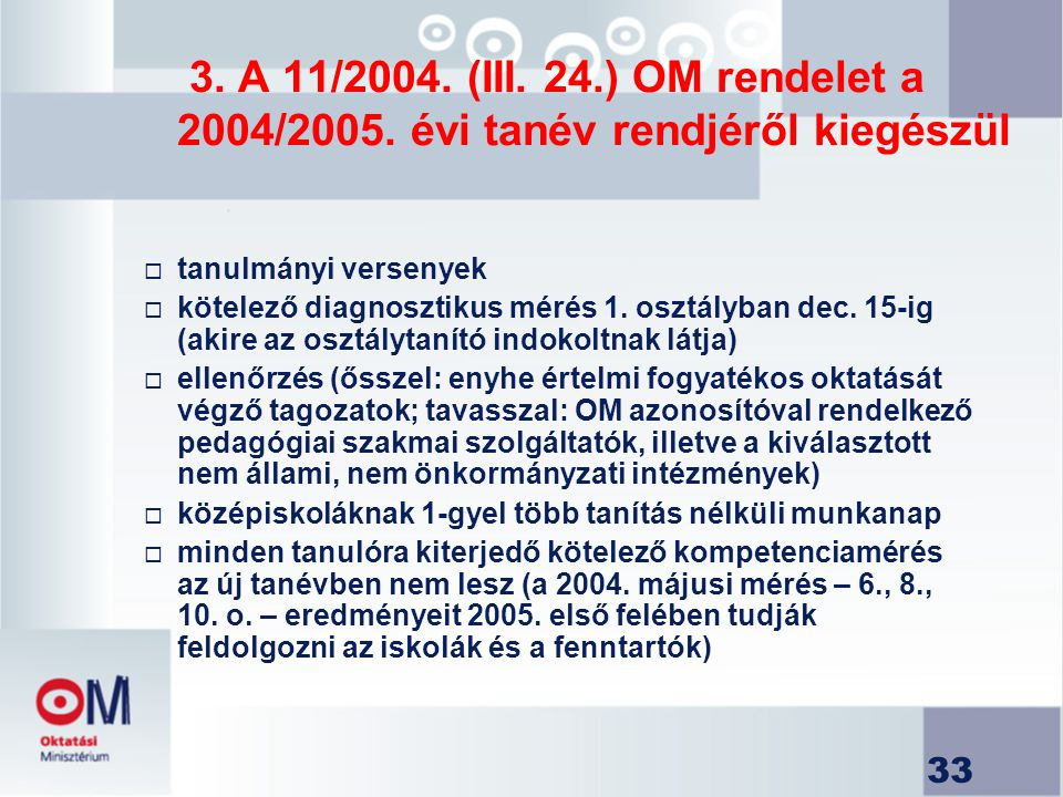 3. A 11/2004. (III. 24.) OM rendelet a 2004/2005. évi tanév rendjéről kiegészül