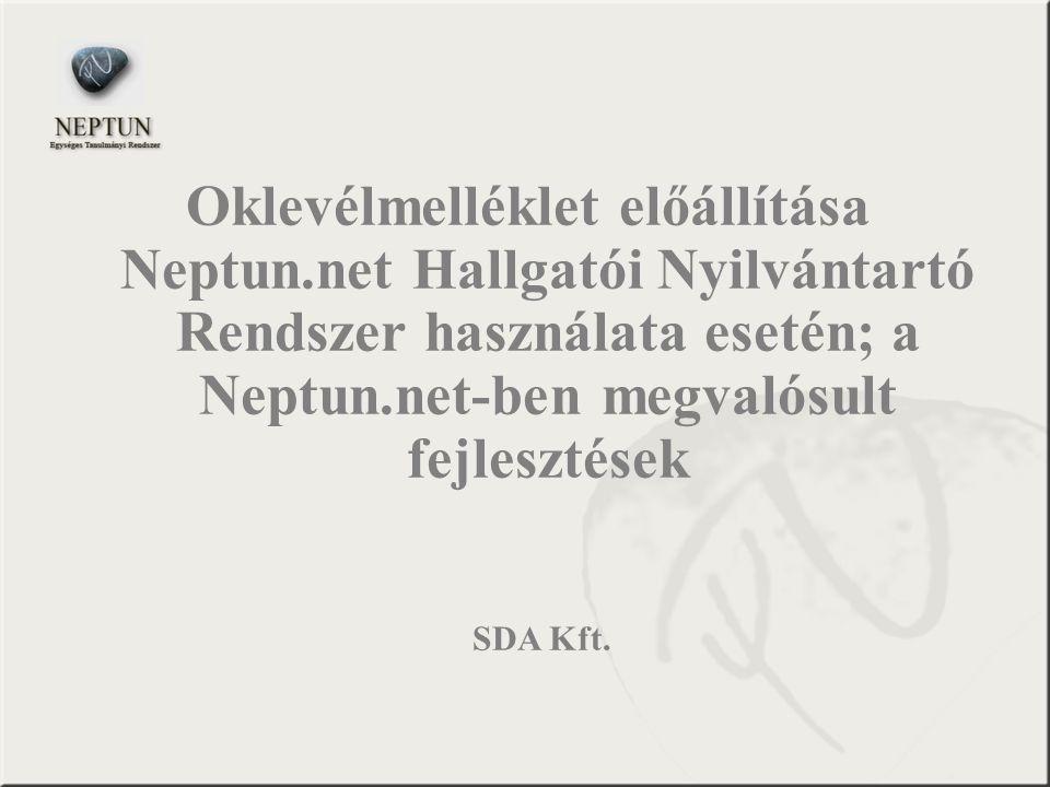 Oklevélmelléklet előállítása Neptun
