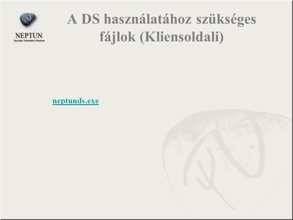 A DS használatához szükséges fájlok (Kliensoldali)