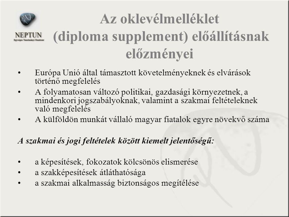 Az oklevélmelléklet (diploma supplement) előállításnak előzményei