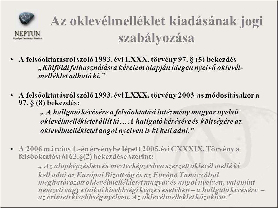 Az oklevélmelléklet kiadásának jogi szabályozása