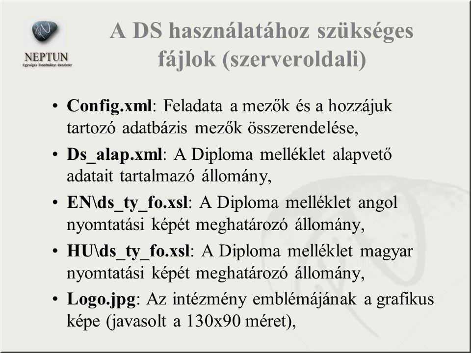 A DS használatához szükséges fájlok (szerveroldali)
