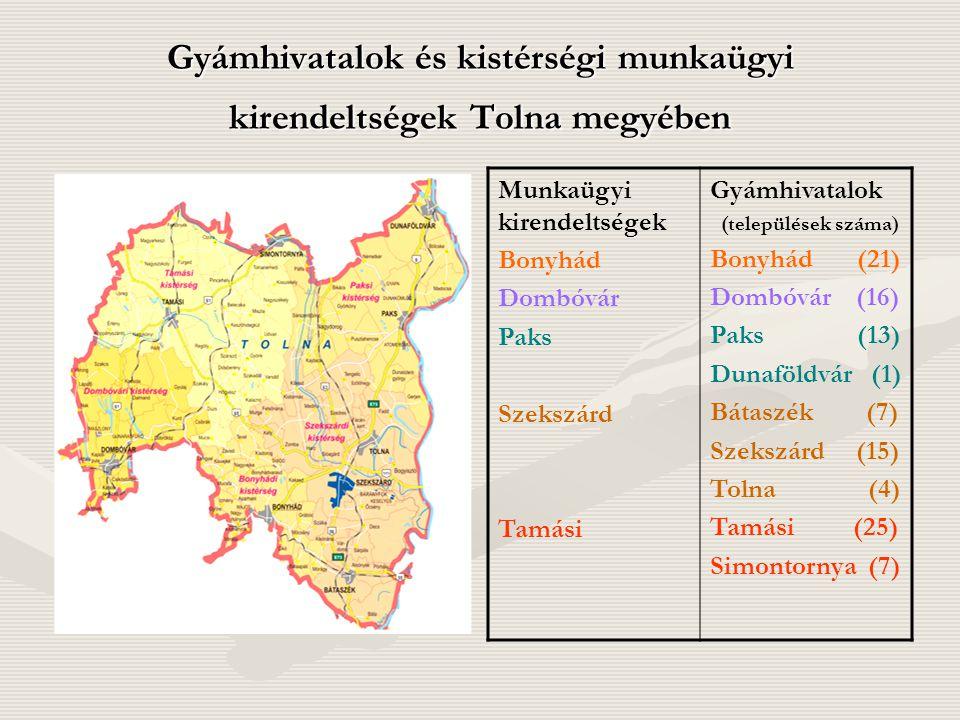 Gyámhivatalok és kistérségi munkaügyi kirendeltségek Tolna megyében