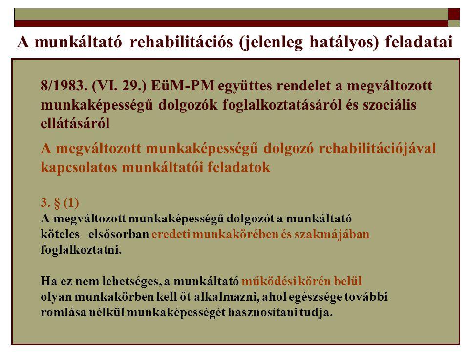 A munkáltató rehabilitációs (jelenleg hatályos) feladatai
