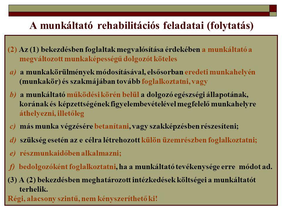 A munkáltató rehabilitációs feladatai (folytatás)