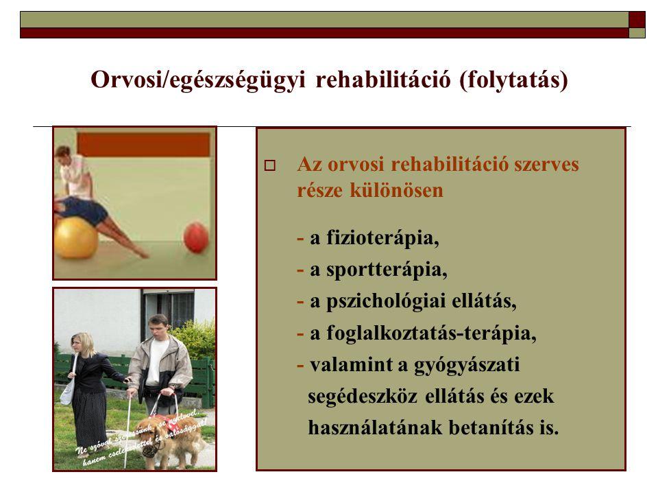 Orvosi/egészségügyi rehabilitáció (folytatás)