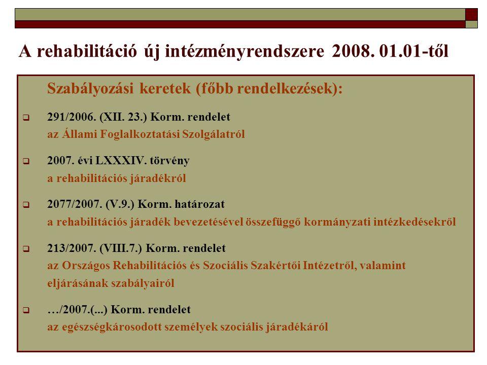 A rehabilitáció új intézményrendszere 2008. 01.01-től