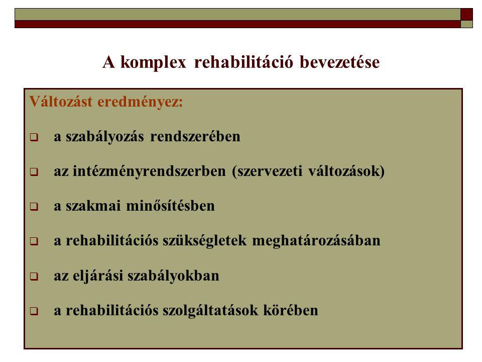 A komplex rehabilitáció bevezetése