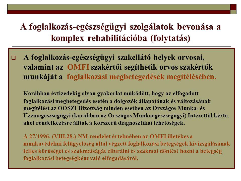 A foglalkozás-egészségügyi szolgálatok bevonása a komplex rehabilitációba (folytatás)