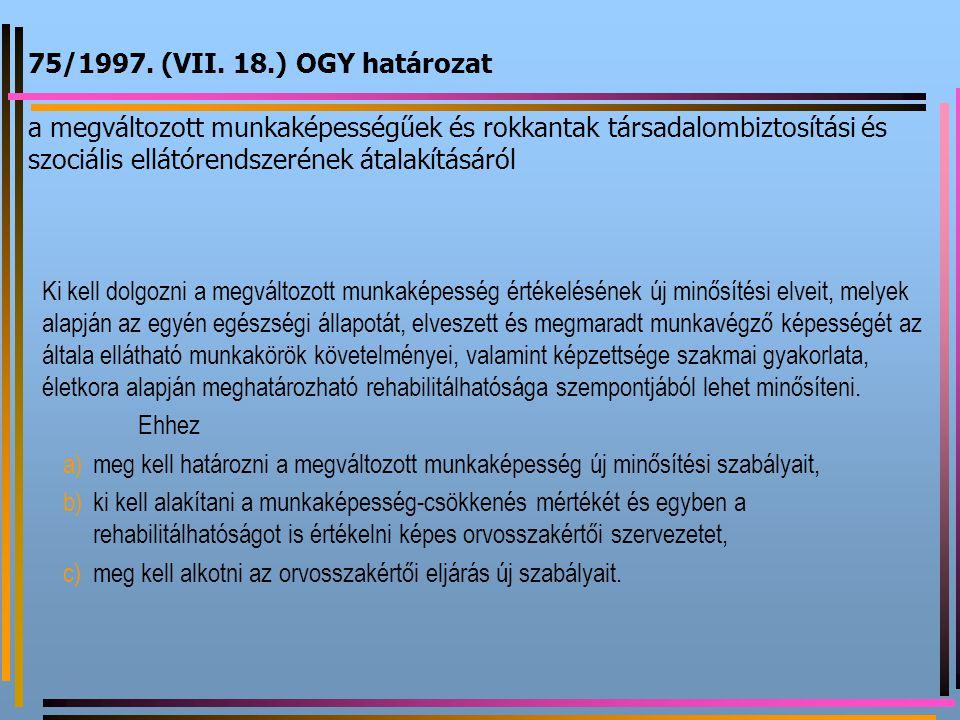 75/1997. (VII. 18.) OGY határozat a megváltozott munkaképességűek és rokkantak társadalombiztosítási és szociális ellátórendszerének átalakításáról