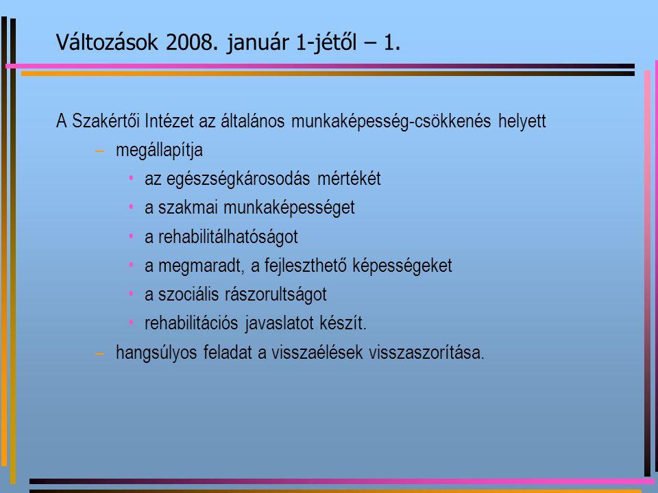 Változások 2008. január 1-jétől – 1.
