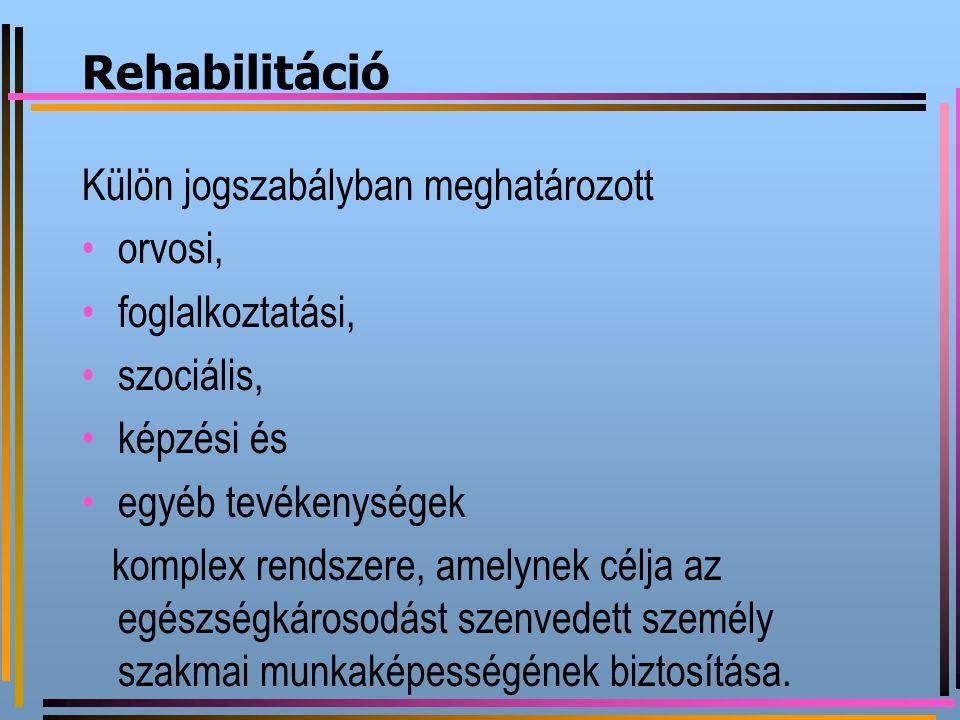 Rehabilitáció Külön jogszabályban meghatározott orvosi,
