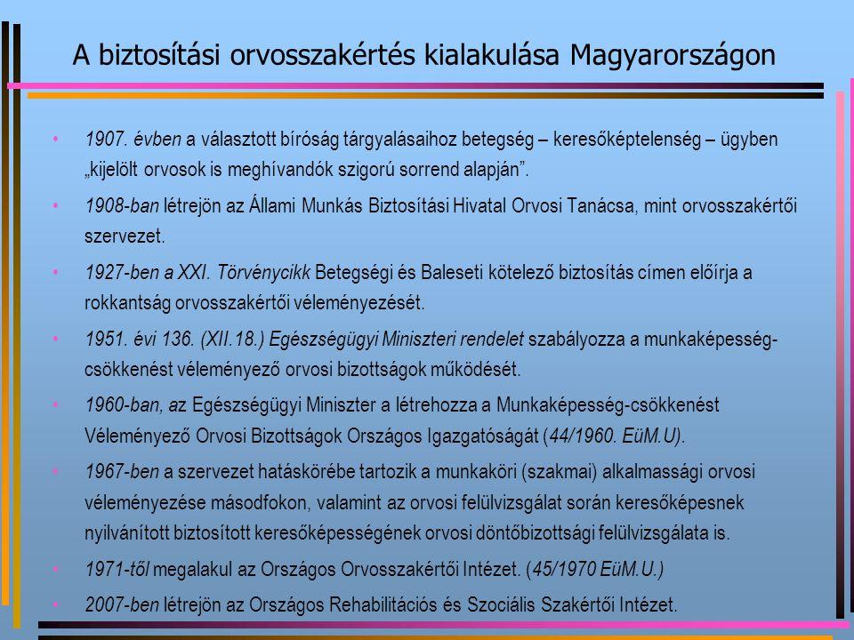 A biztosítási orvosszakértés kialakulása Magyarországon