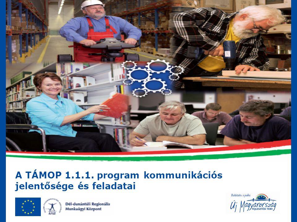 A TÁMOP 1.1.1. program kommunikációs jelentősége és feladatai