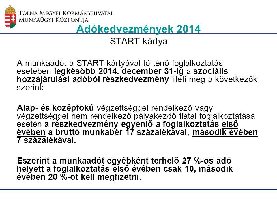 Adókedvezmények 2014 START kártya