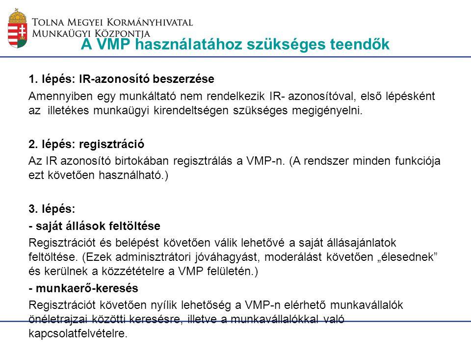 A VMP használatához szükséges teendők