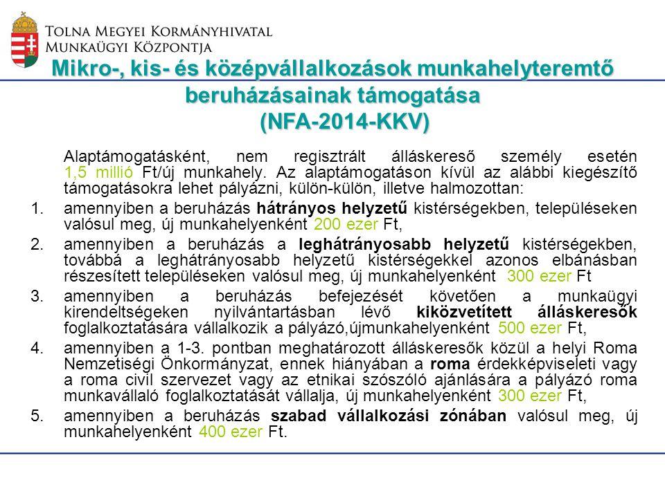 Mikro-, kis- és középvállalkozások munkahelyteremtő beruházásainak támogatása (NFA-2014-KKV)