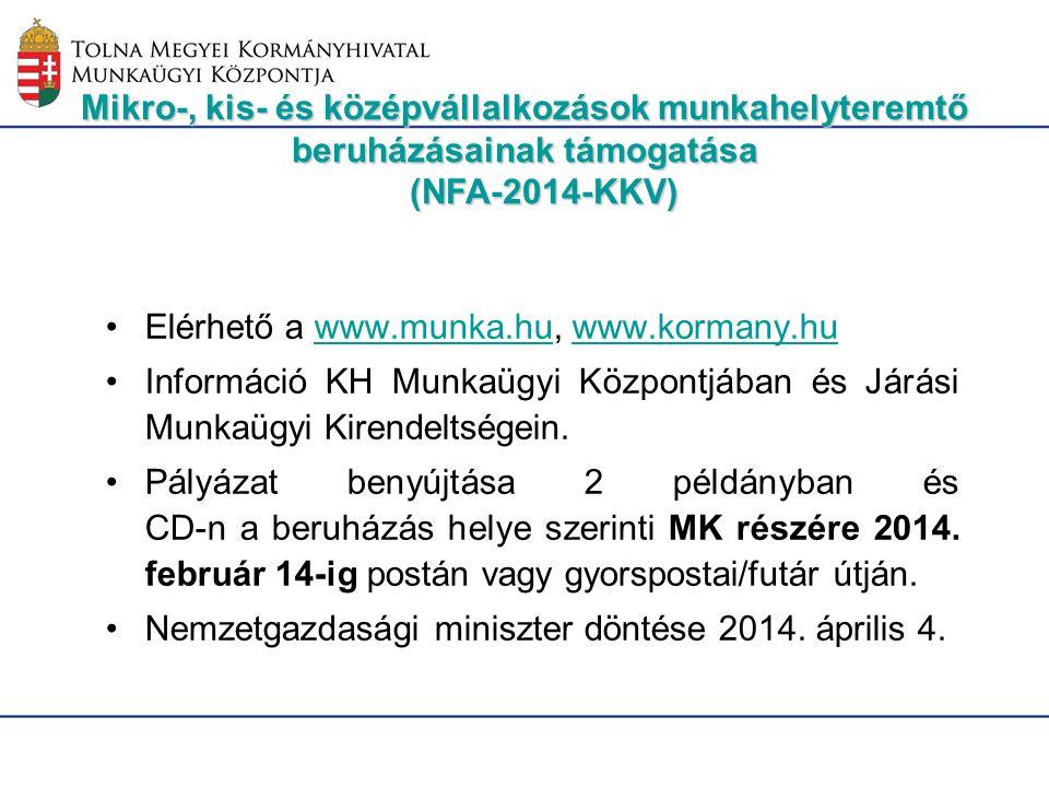 Elérhető a www.munka.hu, www.kormany.hu