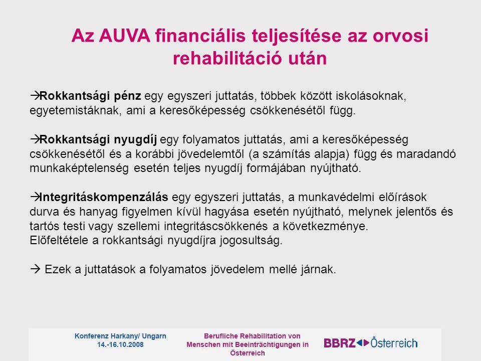 Az AUVA financiális teljesítése az orvosi rehabilitáció után