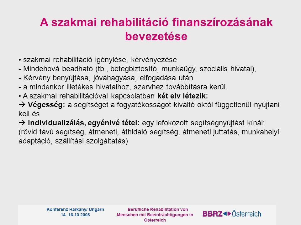 A szakmai rehabilitáció finanszírozásának bevezetése