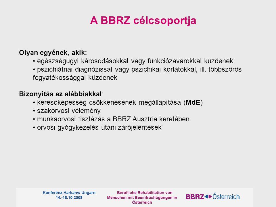 A BBRZ célcsoportja Olyan egyének, akik: