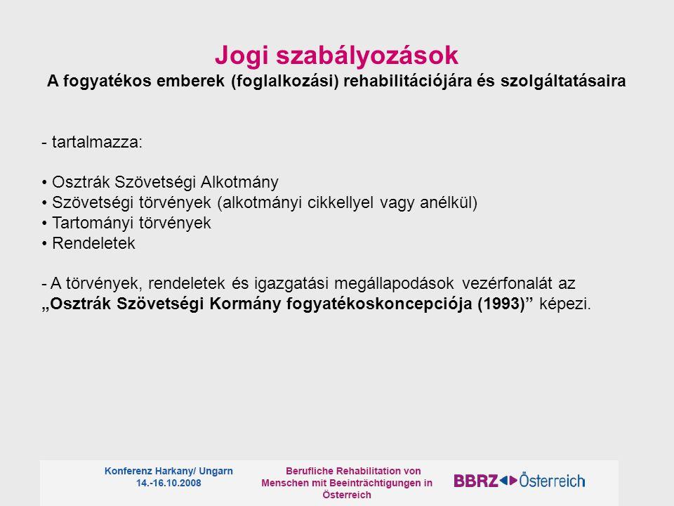 Jogi szabályozások A fogyatékos emberek (foglalkozási) rehabilitációjára és szolgáltatásaira. - tartalmazza: