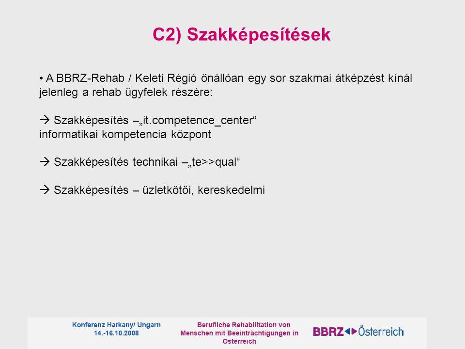 C2) Szakképesítések • A BBRZ-Rehab / Keleti Régió önállóan egy sor szakmai átképzést kínál jelenleg a rehab ügyfelek részére: