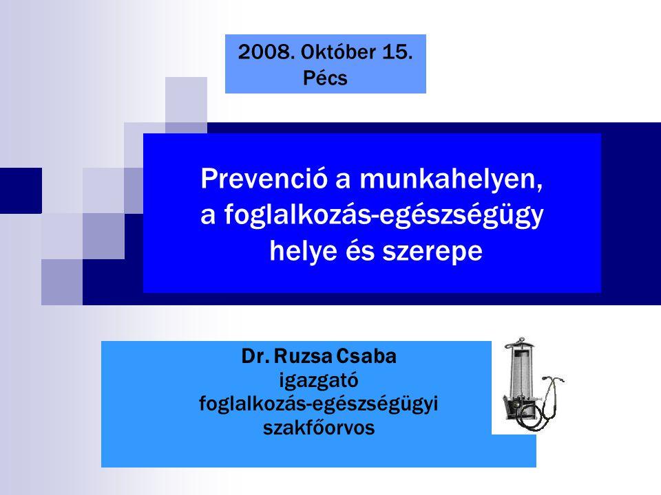 Prevenció a munkahelyen, a foglalkozás-egészségügy helye és szerepe