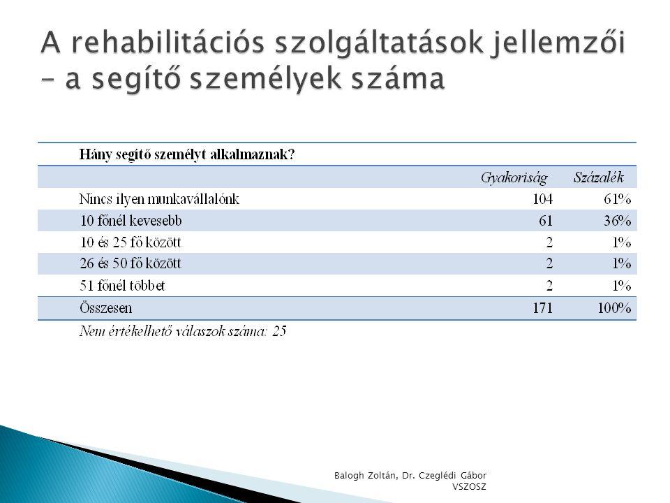 A rehabilitációs szolgáltatások jellemzői – a segítő személyek száma
