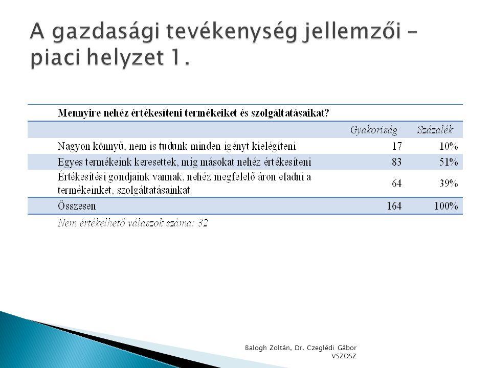 A gazdasági tevékenység jellemzői – piaci helyzet 1.