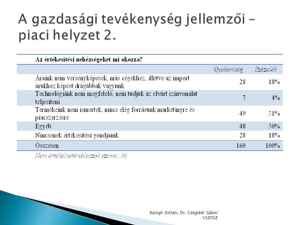 A gazdasági tevékenység jellemzői – piaci helyzet 2.