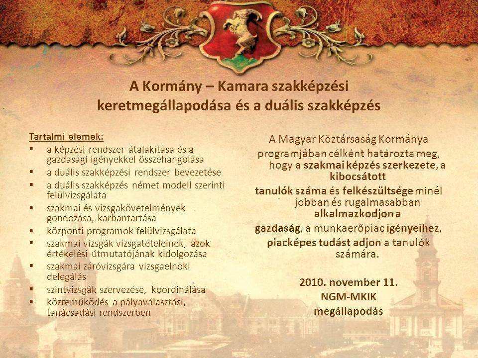 A Kormány – Kamara szakképzési keretmegállapodása és a duális szakképzés