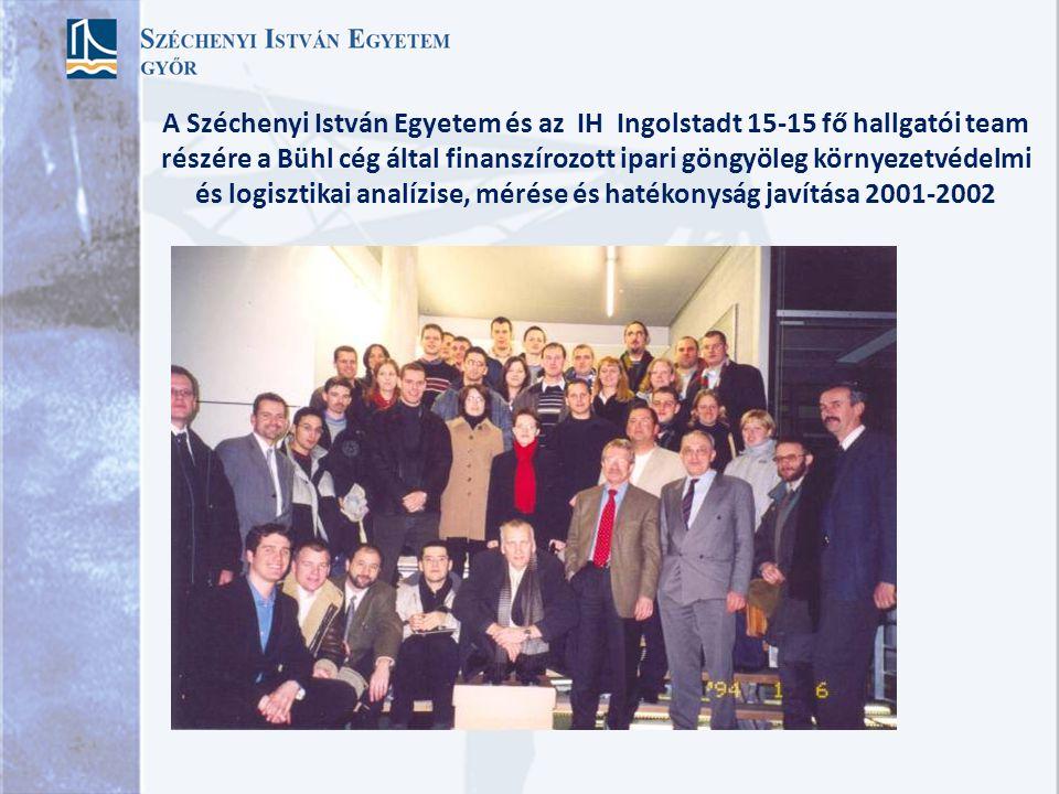 A Széchenyi István Egyetem és az IH Ingolstadt 15-15 fő hallgatói team részére a Bühl cég által finanszírozott ipari göngyöleg környezetvédelmi és logisztikai analízise, mérése és hatékonyság javítása 2001-2002