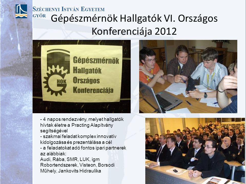 Gépészmérnök Hallgatók VI. Országos Konferenciája 2012