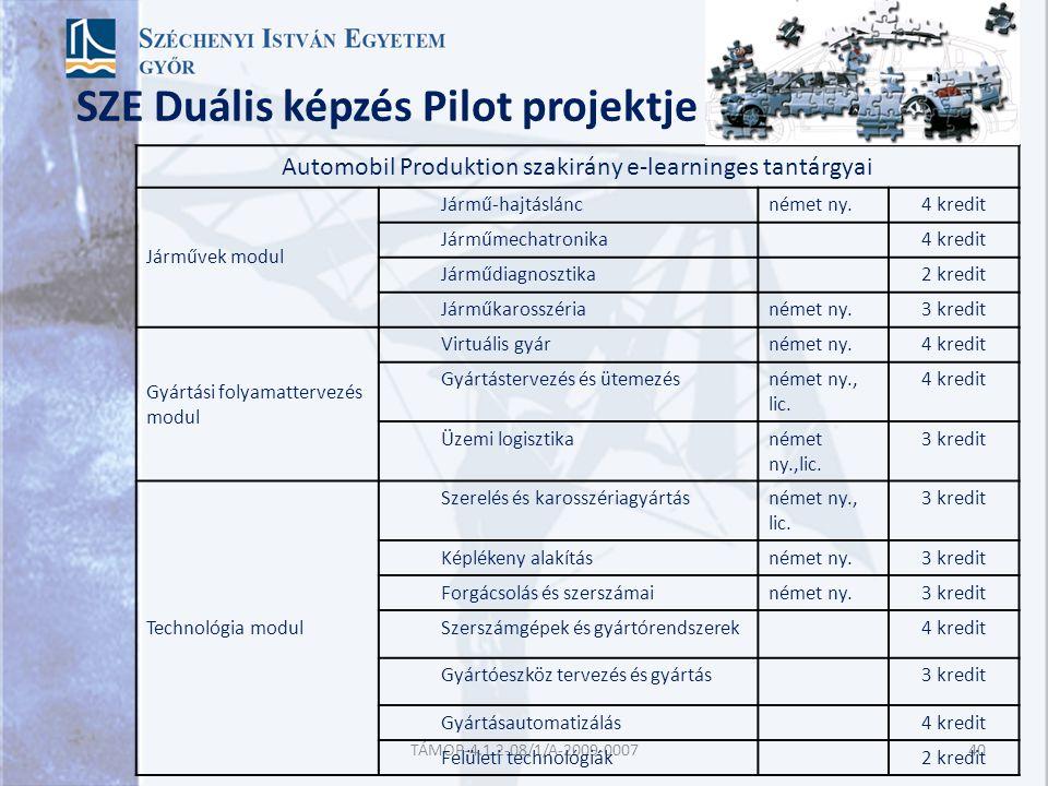 SZE Duális képzés Pilot projektje