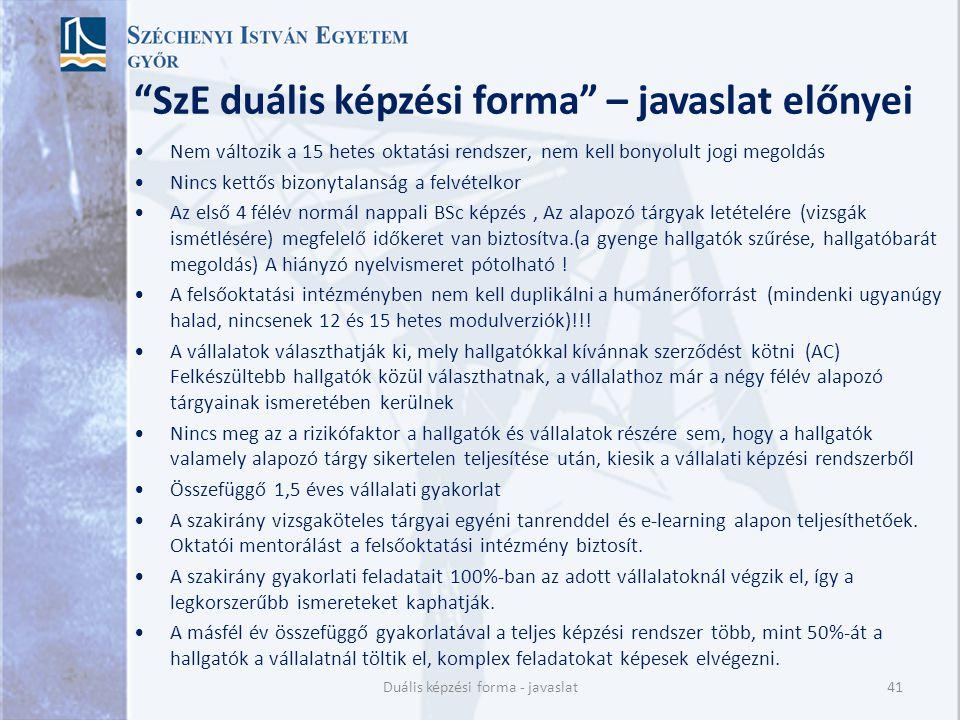 SzE duális képzési forma – javaslat előnyei
