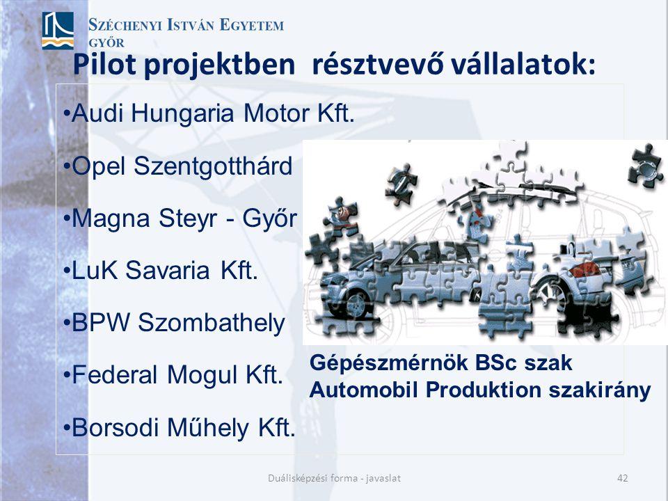 Pilot projektben résztvevő vállalatok: