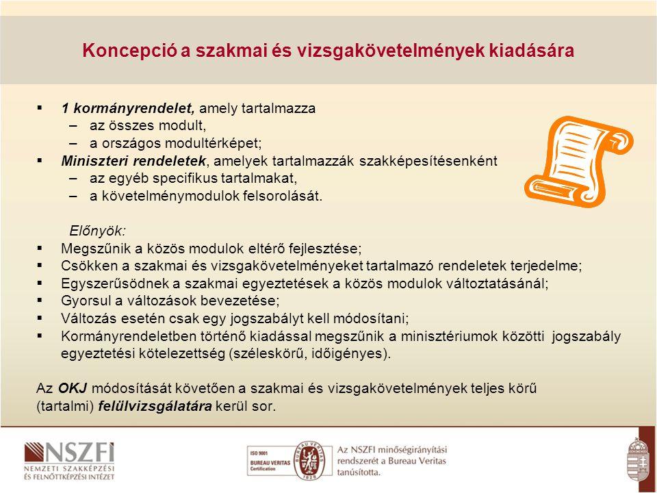 Koncepció a szakmai és vizsgakövetelmények kiadására