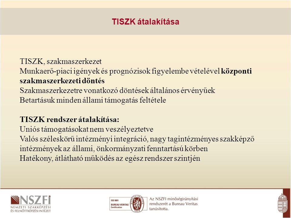 TISZK átalakítása TISZK, szakmaszerkezet. Munkaerő-piaci igények és prognózisok figyelembe vételével központi szakmaszerkezeti döntés.